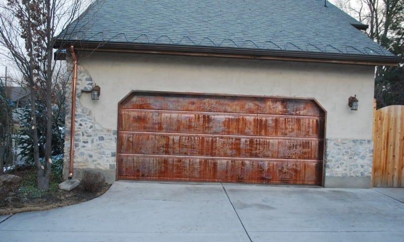 Patina Copper Garage Door Copper Gutter Commercial Heat