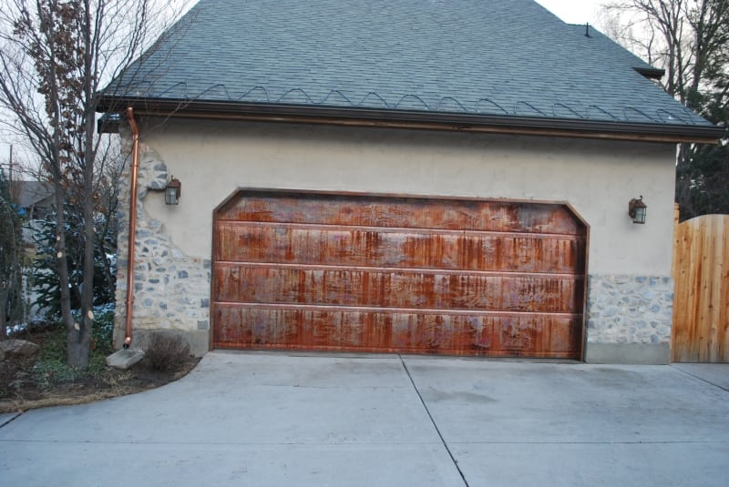 Patina Copper Garage Door Copper Gutter Commercial Heat